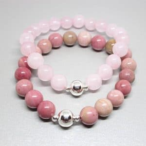 pink gemstone bracelet stack, gemstone bracelet set, rhodochrosite and rosequartz set, love stones set stack, gemstones for love, bracelet stack for love