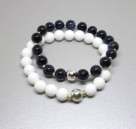 healing crystals and stones bracelet set, black and white crystal bracelet set